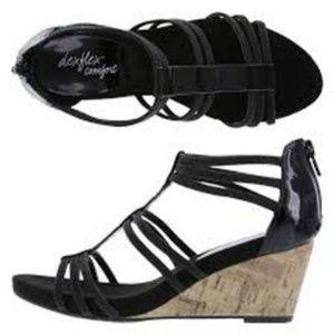 Shoes - Dexflex Comfort Black Gladiator Wedges